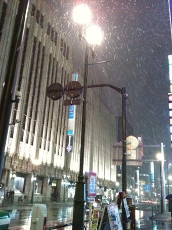雪、なう。